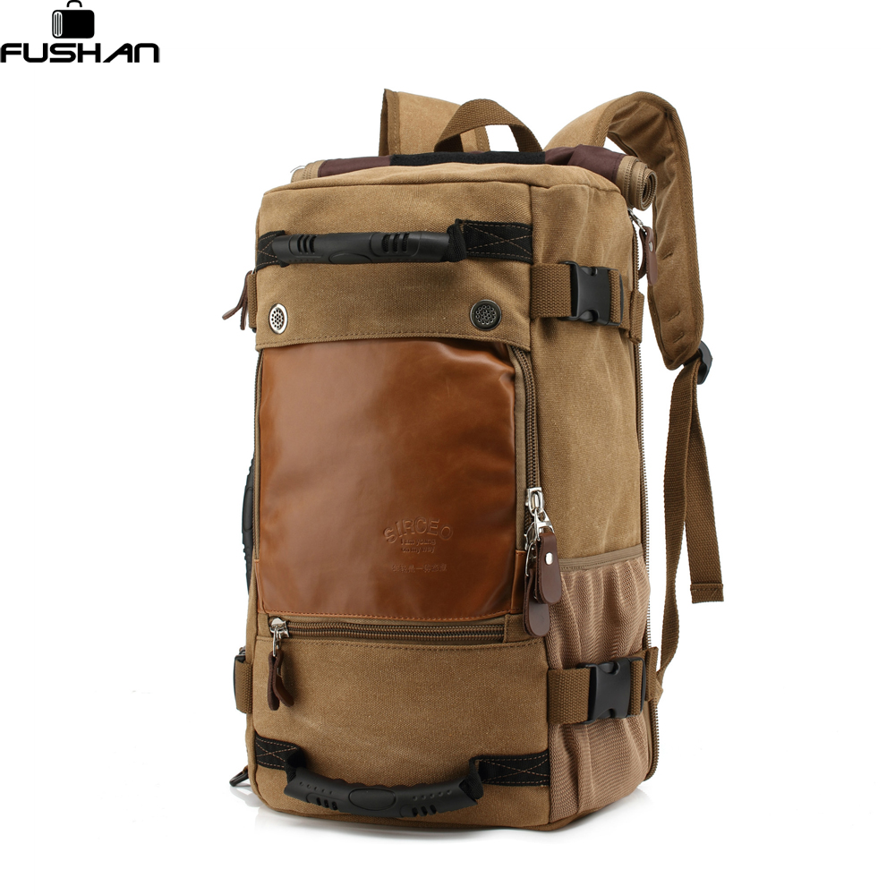 FUSHAN Men backpack Canvas Huge Travel Bag Shoulder Bag Computer Backpacking Men laptop Bags Multifunctional Travel Bag<br>