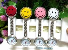 New Smile Face Nurse Fob Brooch Pendant Watch Portable Pocket Watch,Clip Watch Medical Use Pocket Quartz Clasp Watch 10pcs(China)