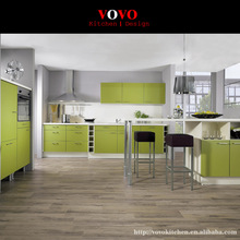 Fresh green lacquer kitchen cabinet