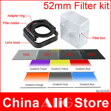 14in1 camera lens filter kit 52mm adapter ring lens hood nd gradient gray filters bag case box for cokin