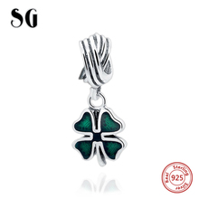 NEW silver 925 Green clover flower charm Bead Fit charms original pandora Bracelet Authentic pendant jewelry Luxury gifts(China)