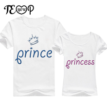 Prince Princess blue letter print women summer cotton t-shirt short sleeve couples sweet pink tee shirt lovers funny cute tshirt