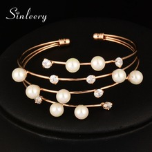 SINLEERY Luxury Rose Gold Color 4 Layer Cubic Zircon Simulated Pearl Bracelet Bangle Cuffl For Women Wedding  SL389