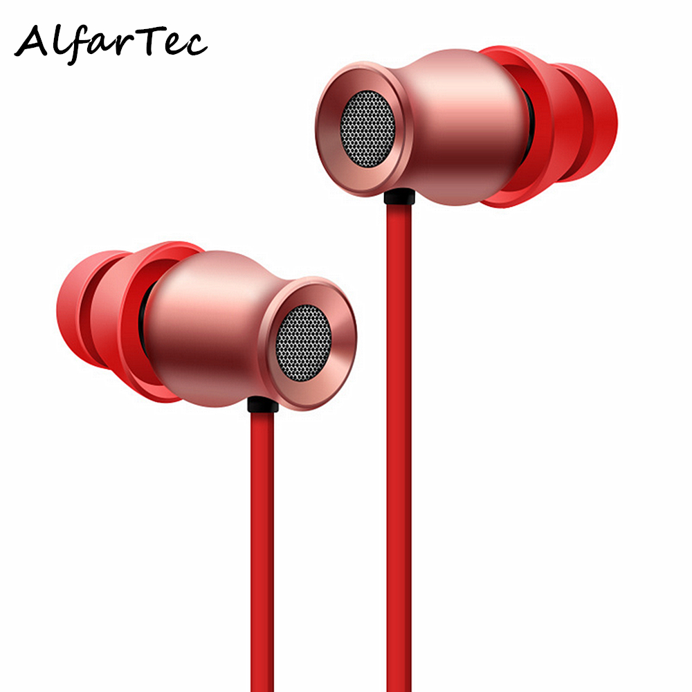Metal  Magnetic Bluetooth Earphone Anti-Sweat Noise Reduction In-earphone Bass Stereo Earphones With Mic For Smart Phone PC<br>