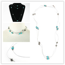 Boho Ethnic Chain Necklaces Spacer Blue Acrylic Bead Long Wire Connect Ball Position Beads Sweater Neck for Women Maxi Necklace
