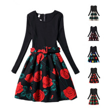 Girls Dress Winter Long Sleeve Flower Black Red Teenagers Girls Princess Tutu Dress Floral Rose Floral Kids Girls Dress Costume
