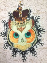 Crown Owl Heat Transfer Applique Patches for Clothing Tops Jeans Jackets T-Shirt Dress Motorcycle Iron-on Patch Fashion Handmade