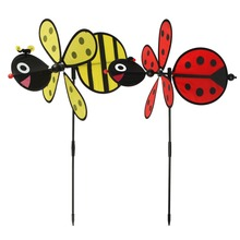 New Bumble Bee / Ladybug Windmill Whirligig Wind Spinner Home Yard Garden Decor Classic Toys 1PC(China)