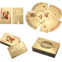 NEW 24K Carat Gold Foil Plated Poker Game Playing Cards Gift Collection +Certificate(China)