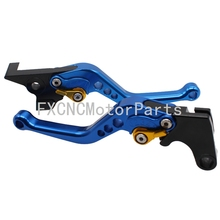 For Suzuki GS 500 E K1 K2 K3 2001-2013 2008 CNC Blue & Gold Motorcycle Adjustable Clutch Brake One Pair Levers