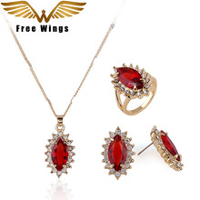 New Arrival Rose Gold color Plated Crystal oval Fashion Birdal Jewelry Sets for Women Necklace Earrings Sets B12(China)