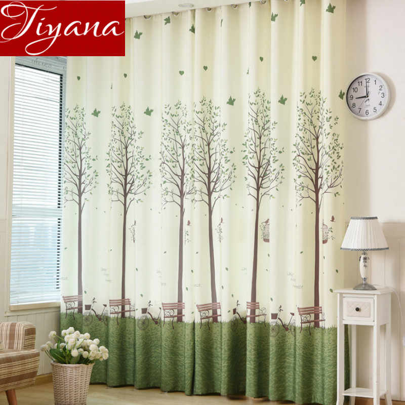 Korean Green Trees Curtains Printed Voile Curtains Window Living Room Bedroom Tulle Curtains Sheer Fabrics Drapes T&193 #20