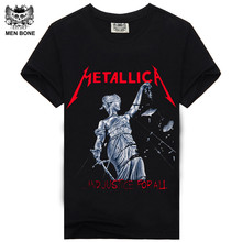 [Men Bone]  New Heavy Metal Rock Band Metallica/Nirvana Led-zeppelin Rock Band Print T Shirt Short Sleeve Hiphop Casual Men