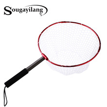 Sougayilang Retractable Fishing Brail Net Red Soft Rubber Fly Fishing Landing Net 65x40x27cm Large Mesh Hand Dip Net(China)