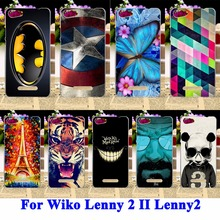 Cell Phone Shell For Wiko Lenny 2 II Cases Cover Lenny2 Lenny II Housing Panda Tiger Cat Painted Phone Bags Hard Plastic Shield