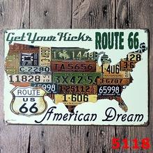 ROUTE 66 USA MAP DESIGN Metal Wall Sticker IRON Plaque PUB Wall Sticker house Tin Signs Shop Decor 20X30CM(China)