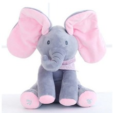 peek a boo elephant plush elephant music toy  cotton soft little elephant doll Educational Anti-stress Electric Toy For Baby