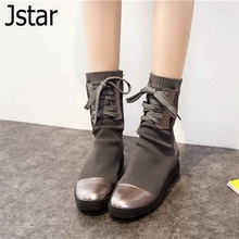 New 2016 Brand  boots Genuine leather shoes woman Autumn winter boots round toe Flat boots mid-calf wool casual knitted