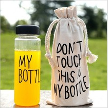 Transparent My Sports Bottle Water Kettle Pure Color Health Water Bottles Plastic Lemon Juice Water Bottle 500ml Send Cloth Bag(China)