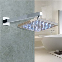 "LED 8"" Square Rain Shower Head Wall Mounted Shower Arm Square Top Shower Sprayer"