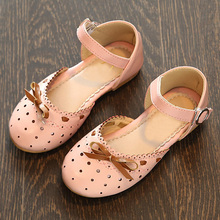 2017 New Fashion Closed Toe Sandals Kids Flats Single Shoes Children Girls Summer Shoes Sweet Bow Baby Girls Sandals CSH356