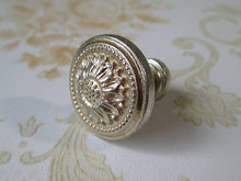 Shabby Chic Dresser Knob Pull Drawer Knobs Pulls Antique Silver Sun Flower Cabinet Handle Knob / French Country Home Decor()