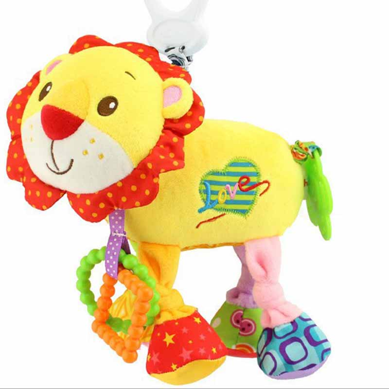 35*22CM Musical Cute Rattles Bed Crib Stroller Kids Stuffed Doll Vibrator Dog Hand Bell Shake RingToy With Teether D012 19