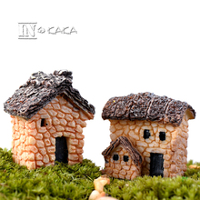 Mini stone house home micro landscape moss fairy garden Decoration Figures Toys DIY miniature/terrarium accessories figurines(China)