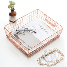 modern Iron art Home creative Rose gold Desktop storage basket basket jewelry magazine fruit Storage tray(China)