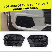 Car-Styling ABS Black Car Mesh Fog Light Grille Covers for Audi Q3 8U Standard Bumper Only 2016-2017