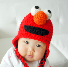 free shipping, Halloween cartoon Sesame street monster hat , Crochet Red monster sesame street Elmo baby hat Christmas gift(China)