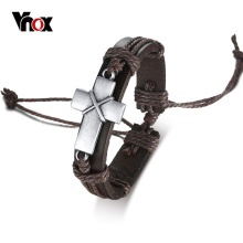 Buy Vnox Vintage Men's Cross Leather Rope Link Bracelet Retro Christian Religious Prayer Wrap Bracelets Bangles Size Adjustable for $3.98 in AliExpress store