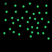 100pcs Wall Stickers 3 Colors Kids Bedroom Fluorescent Bright Glow In The Dark Stars Glass Wall Sticker Free Shipping M01