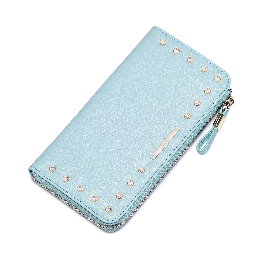 2017 New Studded Rhinestone Womens Cowhide Leather Zip Long Wallet Card Holder Ladies Small Purse Fashion Clutch<br><br>Aliexpress