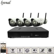 lyvnal two way audio wifi system kit SONY 1080p NVR kit with 4pcs bullet ip camera wifi kit waterproof night vision p2p onvif(China)