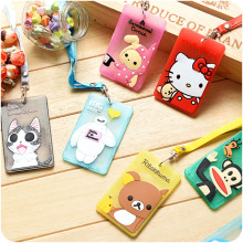 Cartoon ID card holder with string Soft silicone Cards case Kitty Rilakkuma Baymax Totoro Doraemon Office school supplies 5514