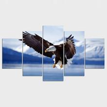 5 Panels Canvas Print Wall Art Picture Eagle Sheep Wolf Goddness Car Lixiaolong Gongfu Picture 0031 Packers(China)