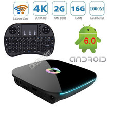 Q Box 2GB 16GB Android 6.0 Smart TV BOX Amlogic S905X Quad Core Support 4K H.265 UHD 4K Media Player 3D Set-top Box