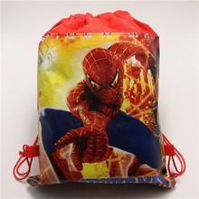 1 шт./лот Baby Shower нетканые Ткань День рождения подарок мешок человек-паук Drawstring Рюкзак для мальчика Дети сувениры ребенок подарки сумки(China)