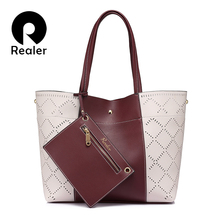 REALER brand fashion women shoulder bag female high quality hollow composite tote bag large capacity handbag Gray/Brown/Wine Red