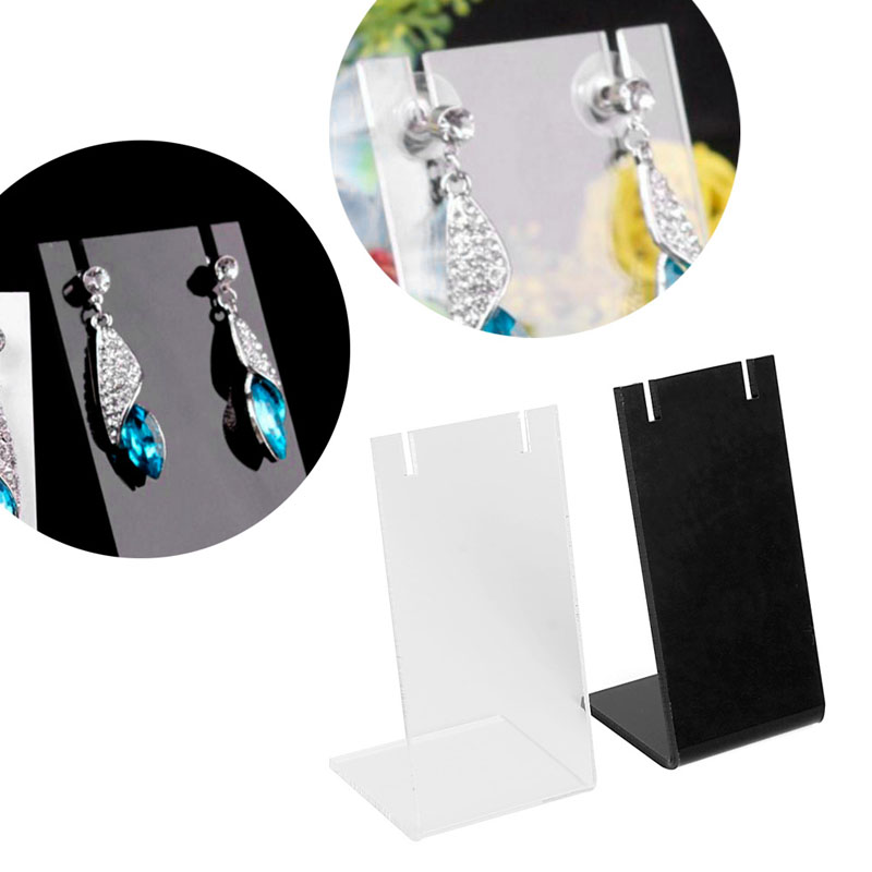 Velvet L-shape Frame Earring Ear Stud Jewelry Holder Display Rack Showcase