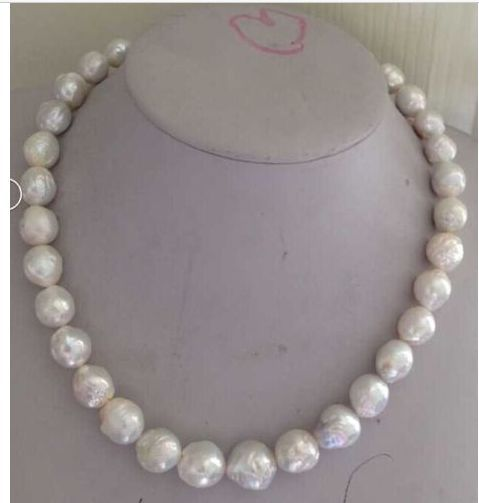 free shipping classic14k-15mm white baroque keshi pearl necklace 18inch 925s