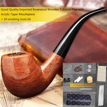 MUXIANG 10 Smoking Pipe Tools Set Wooden Smoking Pipe Rosewood Tobacco Pipe for Smoking Weed with Cleaners Pipe Rack ad0006-1