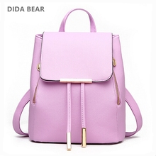 DIDA BEAR Women Backpack High Quality PU Leather Mochila Escolar School Bags For Teenagers Girls Leisure Backpacks Candy Color(China)