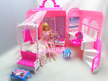 Baby Girl Birthday Gift Pack Hot Sale Fashion Mini Plastic Pink Sweet DIY Doll House Furniture