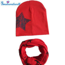 Bnaturalwell Baby cotton Hat Set Star Print Infant Girls boys Hat with scarf Children Scarf Collar Boys Beanie Kids Cap H060(China)