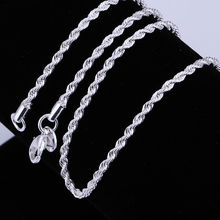 cheap wholesale Top quality Silver-Color twisted rope chain necklace 3MM 16-24 inch fashion jewelry(China)