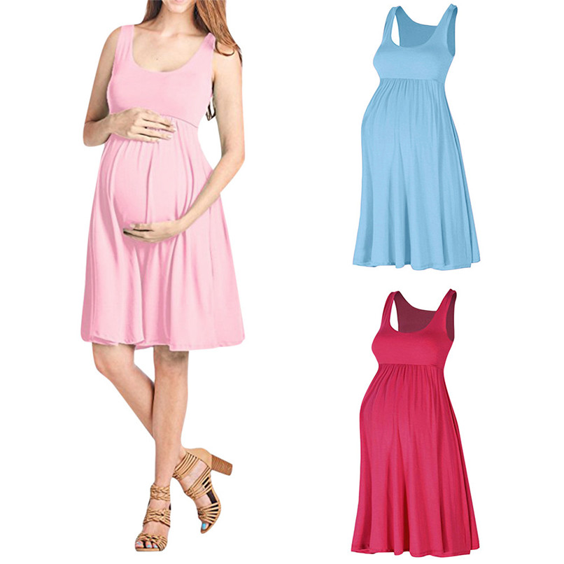 Maternity Clothes Maternity Dresses Summer Fashion Pregnancy Dress Nursing Maternity Solid Sleeveless Vest Causal Dress JE12#F (1)