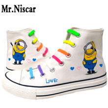 Mr.Niscar Spring Summer Casual Shoes Fashion Women Minions White Canvas Shoes Woman Cartoon Minion Shoes Breathable Hard-Wearing