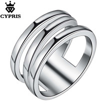 11.11 SUPER DEAL Wholesale silver Ring silver jewelry Three Lines Women Party engagement hot gift lady hollow CYPRIS flash(China)
